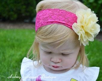 Baby Headbands, Pink lace headband, Newborn Headband, Newborn Headbands, Infant Headbands, newborn photo prop, Headbands for Baby, flower