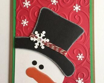 Handmade Christmas Snowman A2 Card