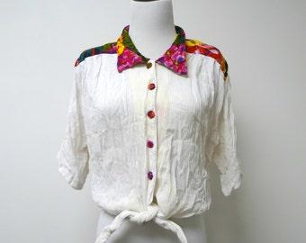 SALE!!! . La Femme . 1980s vintage tie-front top . red floral print shoulders . button down . large