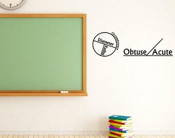 Math Class Decal -  Geometry Classroom Decal - Wall Decal - Math Sticker - Teacher Gift - Class decoration