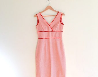 Vintage Orange Ric Rac Gingham Sundress // Sheath Dress 1970s