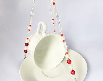 Red and White—Vintage Teacup Bird Feeder