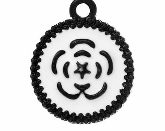 10 charms round pattern Fleur black and white 19x16mm - SC59766.