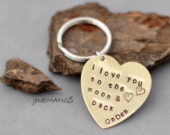 GIFT Key chain- I love you to the moon and back custom gift personalized key ring, gift for lover, heart, brass, shiny gold, key chain, moon