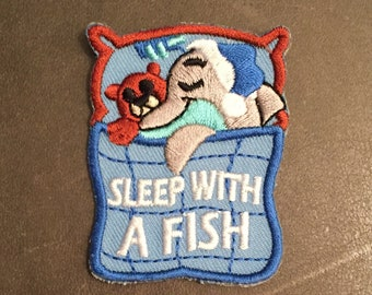 Sleep With A Fish Merit Badge Nap Lock In Aquarium Overnighter Dolphin Blanket Teddy Bear Sea Creature Pillow Sleepover Patch