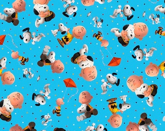GOOD FRIENDS - Charlie Brown / Snoopy Toss in Blue - Peanuts Cotton Quilt Fabric - Quilting Treasures Fabrics - 26188-B (W4375)