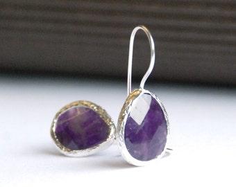 Deep Purple Amethyst Faceted Drop Earrings