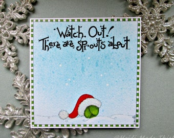 SALE. Reduced to Clear. Clearance. Cheap Funny Christmas Cards. Handmade Brussel Sprout Holiday Card. Vegetarian Vegan Cute Christmas Card
