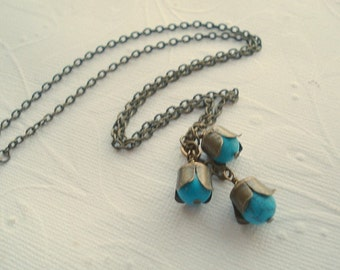 Turquoise Flower Necklace Blue Flower Necklace Cascading Flower Necklace Flower Jewelry