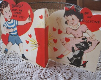 Bang Goes my Heart for You a Large Stand Up Vintage Valentine
