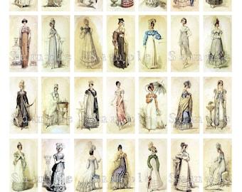Jane Austen Fashion Show Digital Collage 1 x 2 Inch Domino Pendant Images Vintage Victorian Dress Fashion Printable Instant Download