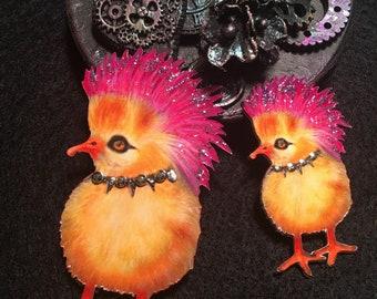 Roxie- Punk Rock Chick 2 Chipboard Embellishments 3D Gems DarlingArtByValeri Scrapbooking Mini Album Card Making Birds Oddity