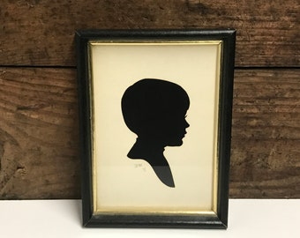 Vintage Signed Silhouette of Young Boys Profile, By Wini '71, Cut Paper Silhouette, Black Wood Frame, Vintage Boys Room Decor