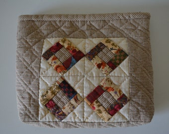 Patchwork purse with metal zipper,  hand stitched cotton pouch