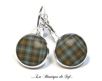 925 Sterling Silver: Stud Earrings with glass cabochons * Scottish tartan * (090218) 3 sizes