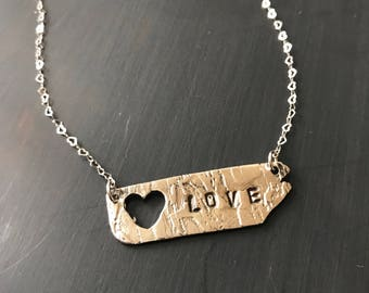 LOVE Sterling Silver Plaque Necklace