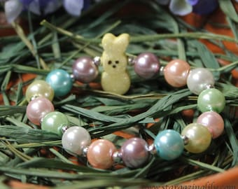 LIMITED! Easter Bunny Peep style pearl bracelet. YELLOW Glitter Bunny bracelets makes a great Easter Basket Filler