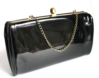 Vintage Black Patent Leather Purse or Clutch