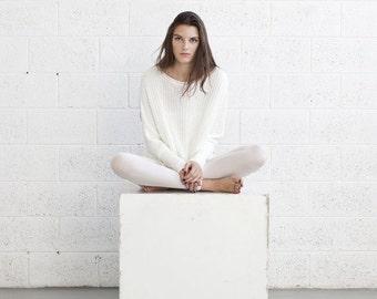 Winter fashion ,White Braided sweater,White sweater