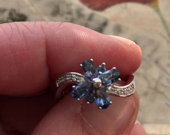 Gorgeous Blue Topaz Sterling Silver Ring