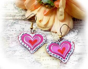 """Silver pink heart earrings - Petite medium Pink  Heart  earring -  Heart Jewelry - 1.25"""" drop dangle French Wire earrings -# J  43"""
