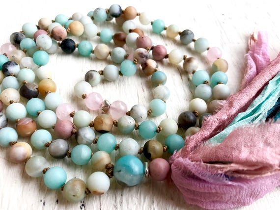 Amazonite Mala Beads - Rose Quartz Mala Necklace - Heart & Throat Chakra Mala - Silk Sari Tassel Necklace - Yoga Jewelry - Meditation Beads