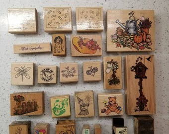Lot Of 24 - 1980's-2004 - Wood Rubber Stamps