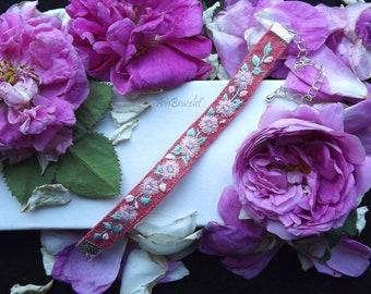Aquamarine Bracelet, Textile Bracelet, Floral Bracelet, Gemstone Boho Bracelet, Boho Fabric Bracelet, Hand Embroidered Boho Fabric Jewelry