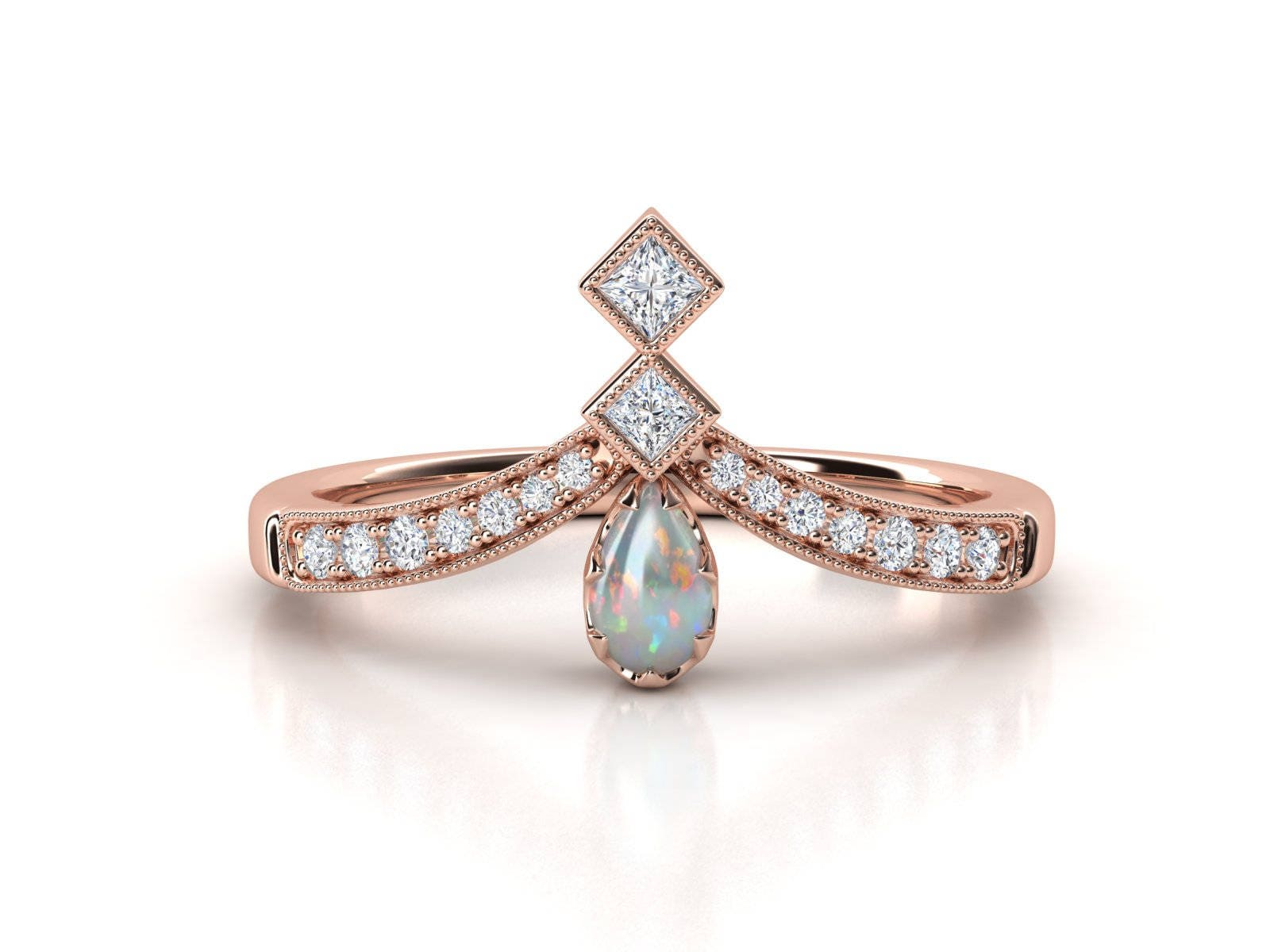 Brand-new Opal ring. Opal and diamond engagement ring. Diamond ring. Pear  QF74