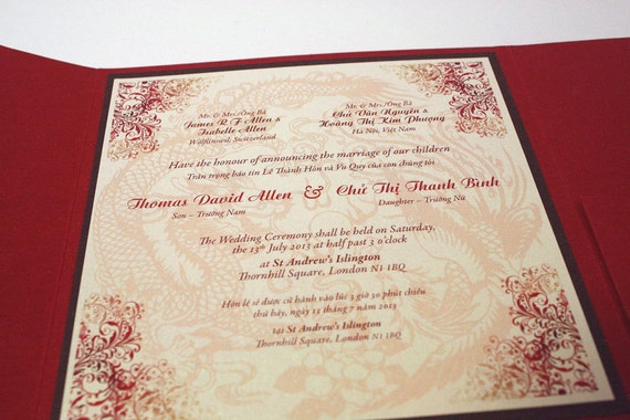 vietnamese wedding invitations bilingual and 8267