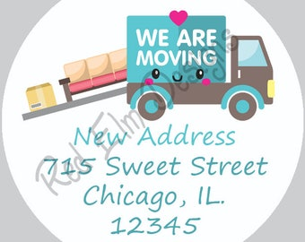 """We Are Moving Stickers - Sheet of 20 - 2"""" round.  Moving Favor Stickers.  2 Inch Round Moving Stickers"""