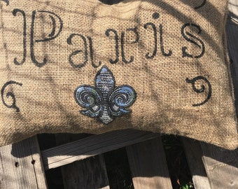Paris Decorative Pillow, Fleur Sequin Throw Pillow, Burlap Pillow Cover, Accent Pillow, Paris Decor, Pillow Cover