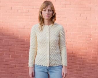 vintage white cardigan medium | popcorn knit sweater | cream fitted cardigan | textured knit cardigan | ivory sweater | 1970s | 70s
