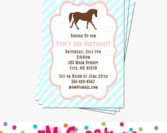 Pony Party Invitation - Horse Birthday Invitations - Cowgirl Birthday Party - Digital Printable Invitation - Girl Birthday Party Aqua Pink