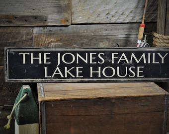 Custom Lake Sign, Lake Sign, Lake House Sign, Lake House Decor, Family Lake Sign, Lake Home Decor, Rustic Sign Custom Wooden Sign ENS1000057