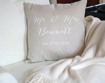 Mr. and Mrs. Pillow Cover, Wedding Pillow, Wedding Date Pillow, Personalized Wedding Pillow, Pillow Cover, Cotton Anniversary