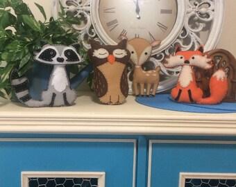 Woodland Animal Stuffies - Grey, Brown, Tan and Orange