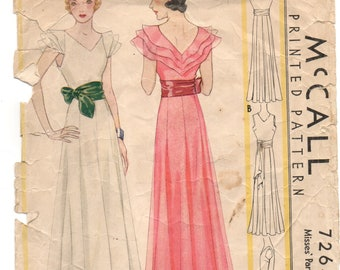 Rare 1930s Evening Dress Sewing Pattern McCalls 7264 Size 16