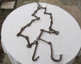 Old antique primitive hand wrought forged iron chain for fireplace fire pit tool