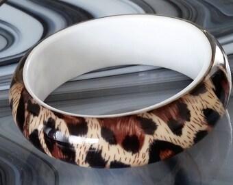 Vintage Leopard Print Resin Bangle Bracelet, Retro, Costume Jewelry, Vintage Jewelry