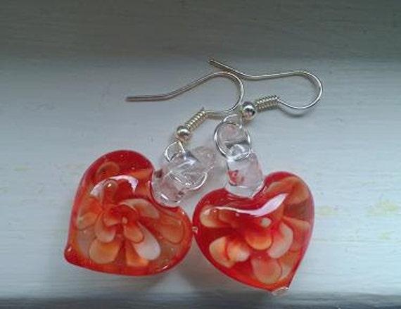 Orange Heart Earrings, Sweetheart Dangle Earrings