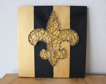 New Orleans Saints String Art, New Orleans Art, New Orleans Saints, New Orleans Decor, Louisiana Decor, Louisiana Art, NoLa Art, NoLa Gift