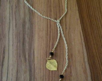 Gold Leaf Lariat Necklace