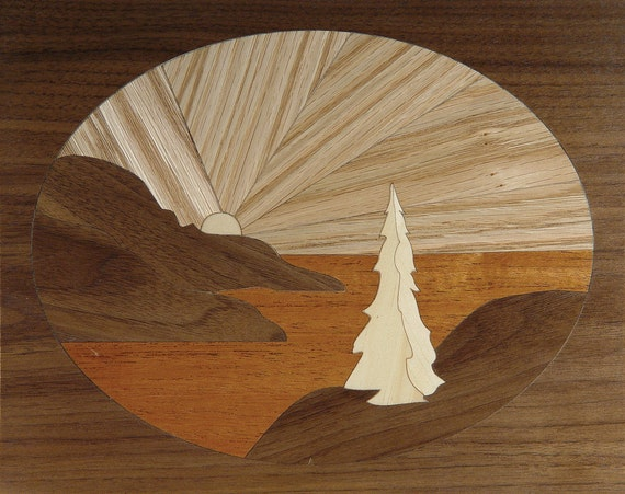 """4""""x 5"""" Marquetry Project Kit - Pacific Sunset"""