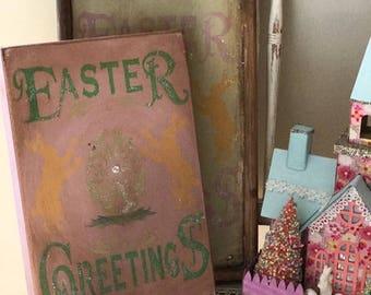 Primitive Vintage Re Hand Painted OOAK Easter Bunny Egg German Glitter Sign HP