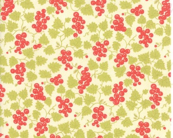 Fig Tree Fabric - Hazel and Plum Fabric - Cream Fig Tree Quilt Fabric - Berries Cream Quilting Fabric By The 1/2 Yard