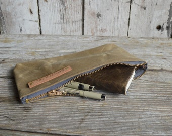 Pencil Case, Medium Waxed Canvas Pouch, Tumbleweed, Organize, Monogram, Makeup Bag, Zipper Pouch, Canvas Bag, Back to School, Canvas Clutch