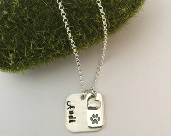 Personalized Sterling Silver Pet paw print Pendant necklace/Gift for pet lover/