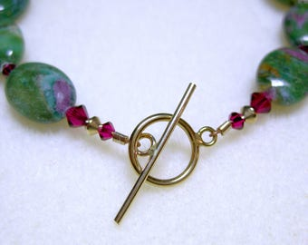 Ruby in zoisite and gold fill bracelet: charity donation