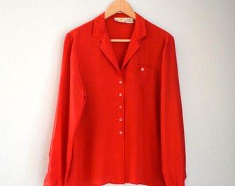 Red Silk Liz Claiborne Button Up Blouse